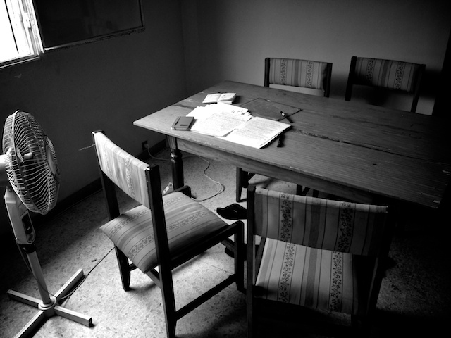 """writing table"" © Graham Holliday, 2013. CC BY-NC 2.0."
